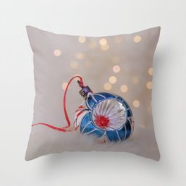 Vintage Chrismas Ball in Pink and Blue Throw Pillow