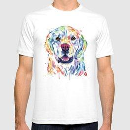 Golden Retriever Watercolor Pet portrait Painting T-shirt