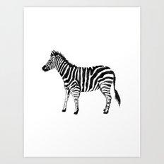Zebra Illustration (Watercolor) Art Print