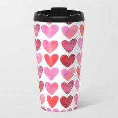 Heart Watercolor Metal Travel Mug