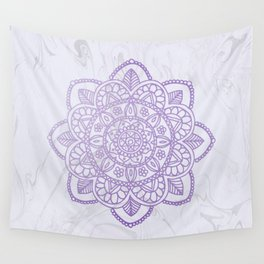 Lavender Mandala on White Marble Wall Tapestry
