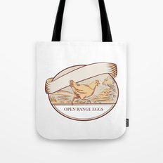 Hen Running Open Range Eggs Oval Drawing Tote Bag