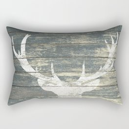Rustic White Deer Silhouette Teal Wood A311 Rectangular Pillow