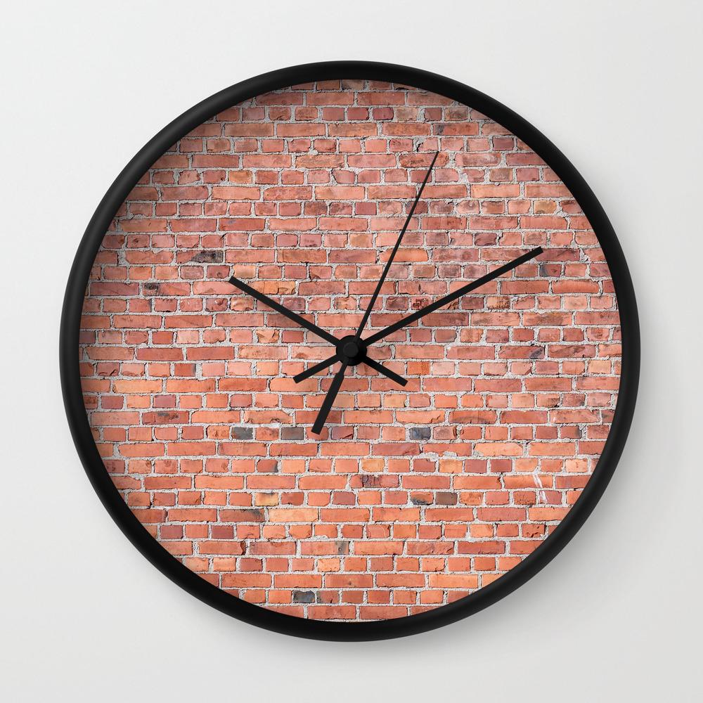 Plain Old Orange Red London Brick Wall Wall Clock By Podartist Society6