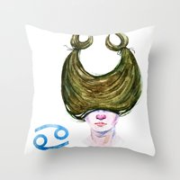 cancer Throw Pillows featuring Cancer by Aloke Design
