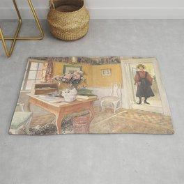 Carl Larsson - School Girl in an Interior Rug