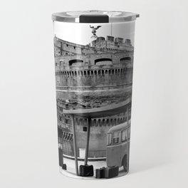 Castel Sant Angelo between past and present B/N Travel Mug