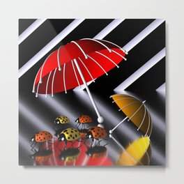 5 little ladybirds Metal Print