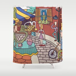 Paris Cafe in the Spring Shower Curtain
