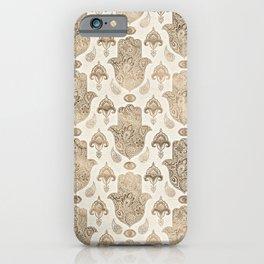 Hamsa Hand Pattern Pastel Gold iPhone Case