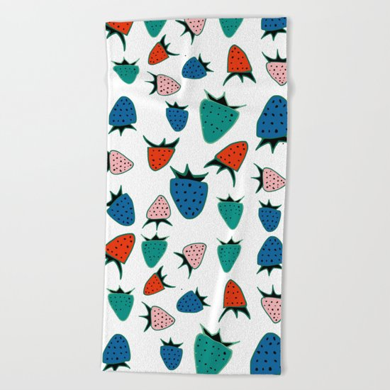 Strawberry white Beach Towel