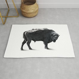Bison Mountain Black and white art Rug