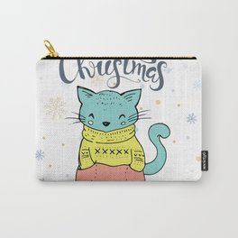Cool Christmas Cat Merry Christmas Typography Carry-All Pouch
