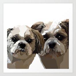 Frankie and Jessie the Shih Tzu dogs Art Print