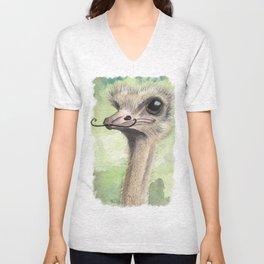Ostrich 'Stache II Unisex V-Neck