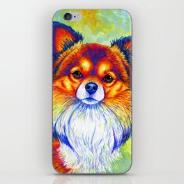 Colorful Long Haired Chihuahua Dog iPhone Skin