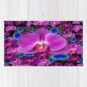 Black-Blue-Pink Orchids Blue Peacock Eyes Art by sharlesart