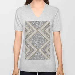 Art Deco Pattern With Crushed Glass, Glittery Silver Foil and Gold Unisex V-Neck
