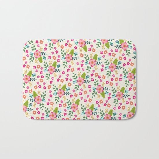 Pink Fuchsia Spring Flower Pattern Bath Mat