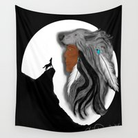 coyote Wall Tapestries featuring Coyote Moon by Christina Dugger