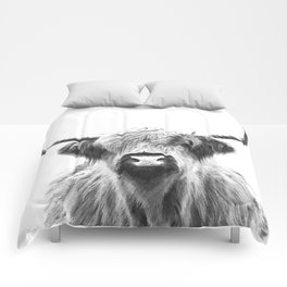 Black and White Highland Cow Portrait Comforters