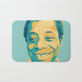 James Baldwin Portrait Teal Gold Blue Bath Mat
