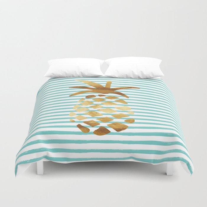 Pinele Stripes Mint White Gold Duvet Cover