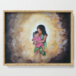 Oil painting of a mother carrying her child and hugging her tight. Serving Tray