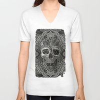 lace V-neck T-shirts featuring Lace Skull by Ali GULEC