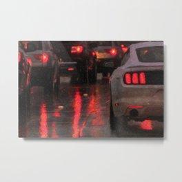 White car in rainy traffic Metal Print