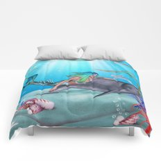 The Mermaid And The Dolphin Comforters