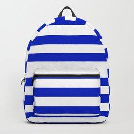 Cobalt Blue and White Horizontal Beach Hut Stripe Backpack