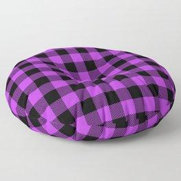 Buffalo Plaid Bright Fuchsia and Black Pattern Minimal Graphic Design Floor Pillow