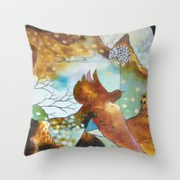 "flora bowley Throw Pillows featuring ""Two Hearts"" Original Painting by Flora Bowley by Flora Bowley"