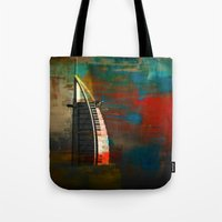 arab Tote Bags featuring Burj Al Arab by Christine Becksted Images
