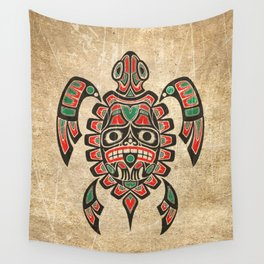 Vintage Red and Green Haida Spirit Sea Turtle Wall Tapestry