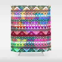 stickers Shower Curtains featuring  Neon Aztec | Purple Pink Neon Bright Andes Abstract Pattern by Girly Trend