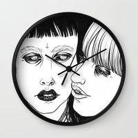 lovers Wall Clocks featuring Lovers by Cannibal Malabar