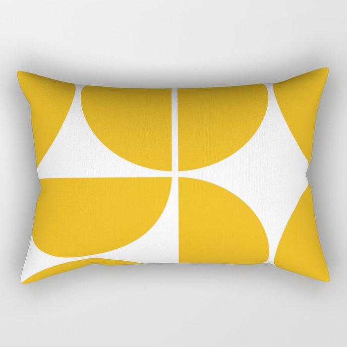 Mid Century Modern Yellow Square Rectangular Pillow