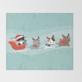 Santa Claws Sleigh Throw Blanket