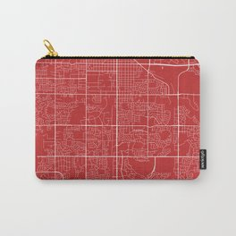 Fort Collins Map, USA - Red Carry-All Pouch