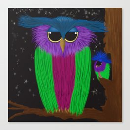 The Prismatic Crested Owl Canvas Print