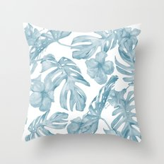 Gorgeous Blue Tropical Leaves + Flowers Throw Pillow