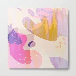 Artsy Taffy Pink Lilac Orange Abstract Floral Brushstrokes Metal Print