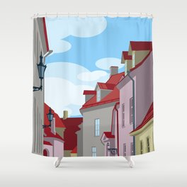 Tiled roofs Shower Curtain