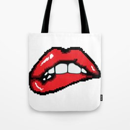 Biting the lower lip. Tote Bag