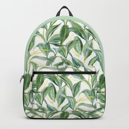 Leaves + Lines in Gold, Green and White Backpack