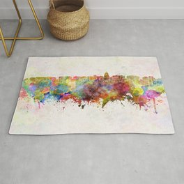 Madison skyline in watercolor background Rug