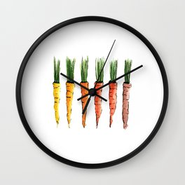Happy colorful carrots Wall Clock