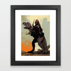 Jesus On A Dinosaur Framed Art Print